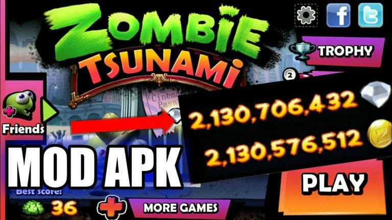 Zombie Tsunami Mod Apk unlimited coins, diamonds