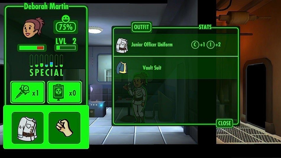 Fallout Shelter Tips tricks cheats hacks - Use outfits and weapons to upgrade dwellers.